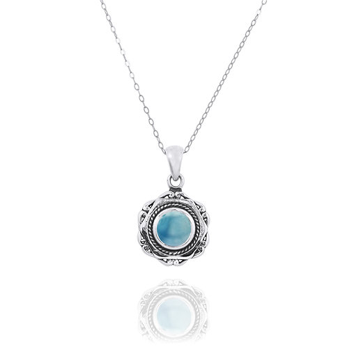 NP12359-LAR - Elegant Modern Silver Pendant with a Round Larimar Piece