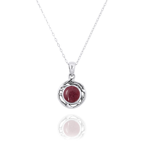 NP12368-RDN  -  Drop Shape  Silver Pendant with a Rhodonite Piece