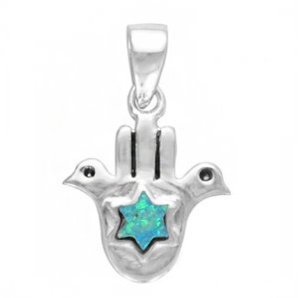 NP4632/OP - Elegant Hamsa Design with S Blue Opal Star of David Pendant