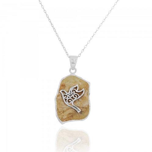 [NP11640-JRSL] Jerusalem Stone Pendant With Sterling Silver Dove