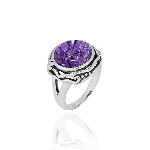 NRB8801-CHR  -  Round Shape Charoitre Contemporary Ring