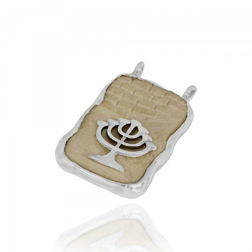 [NP11624-JRSL] Jerusalem Stone Pendant With Sterling Silver Menorah