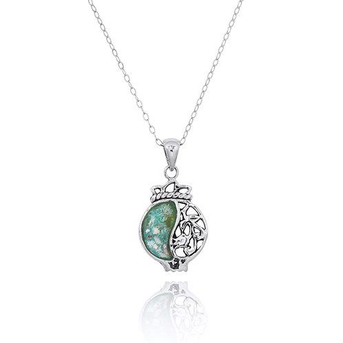 NP12229-RG -Elegant Pomegranate Roman Glass Pendant