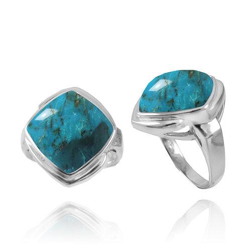 [NRB6809-GRTQ] Cushion Shape Turquoise Gemstone Ring