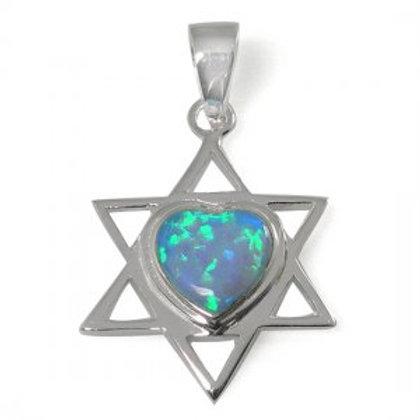 NP4621-OP - Classic Heart shape Center S Blue Opal - Star Of David Pendant