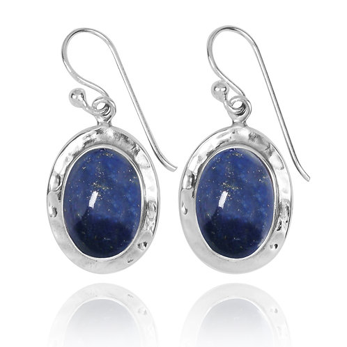 NEA3724-LAP- Oval Classic Dangling Earrings with Lapis Lazuli Stone