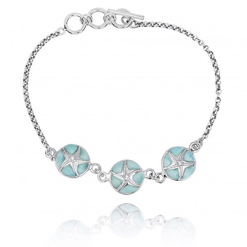 [NB1455-LAR-CRS] Larimar with Sterling Silver Starfish Chain Bracelet