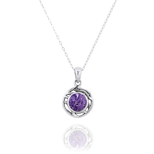 NP12368-CHR  -  Drop Shape  Silver Pendant with a Charoite Piece