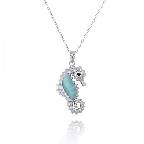 [NP10125-LAR-BKSP] Sterling Silver Seahorse Pendant with Larimar and Black Spine