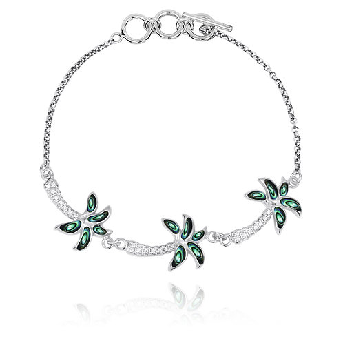 [NB1463-ABL-WHCZ] Sterling Silver Palm Trees with Abalone and White CZ