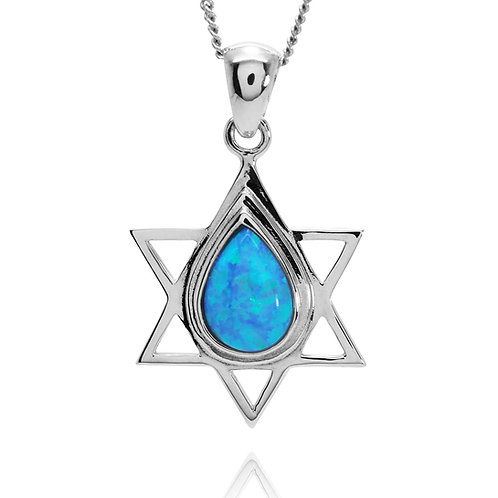 NP4620-LTBLOP - Water Drop shape Design Star Of David Pendant - S Blue Opal
