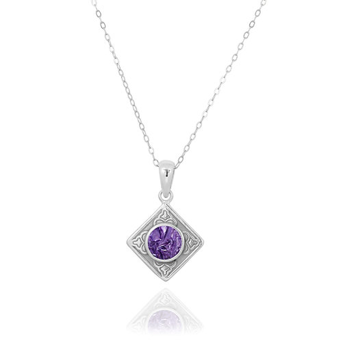 NP12361-CHR - Ethnic Square Design Silver Pendant with a Round Charoite Piece