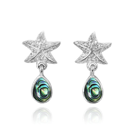 NES3696-ABL-WHT - Star Fish Dandling Earrings with Abalone Shell