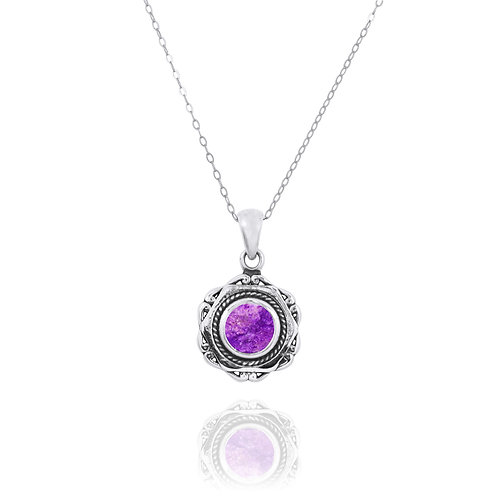 NP12359-SUG - Elegant Modern Silver Pendant with a Round Sugilite Piece