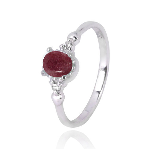 NRB4475-RDN  -  Oval Shape Rhodonite Classic Ring