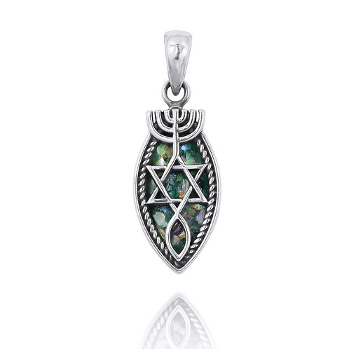 NP12310 -RG - Messianic Elegant Roman Glass Pendant