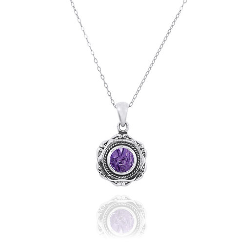NP12359-CHR - Elegant Modern Silver Pendant with a Round Charoite  Piece