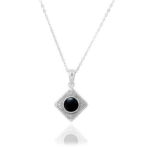 NP12361-BKON - Ethnic Square Design Silver Pendant with a Round Black Onyx  Piec