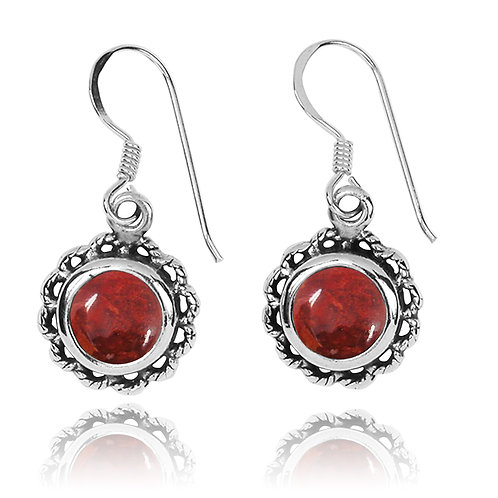 NEA3749-SPC - Flowery Earrings with Sponge Coral