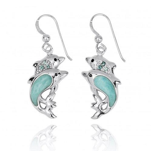 [NEA3243-LAR-SWBLT-BKSP] Sterling Silver Dolphin Drop Earrings with Larimar a