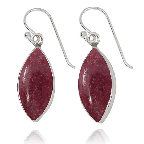 NEA3717-RDN - Classic Marquise Shape Earrings with Rhodonite