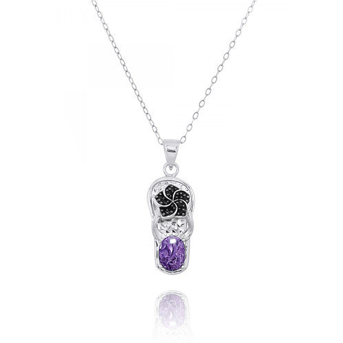 NP11326-CHR - Elegant Hawaiian Flip Flop Pendant with Charoite and Black Spinel