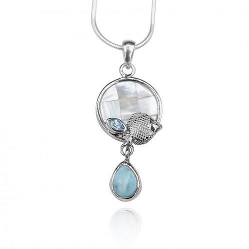 [KPG25-LAR] Pear shape larimar , blue topaz , round mother of pearl , fish