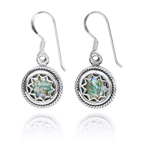 NEA3760-RG - Star Design Roman Glass Earrings