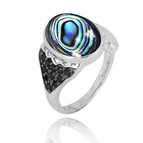 [NRB8370-ABL] Sterling Silver Fin Ring with Abalone and Black Sp