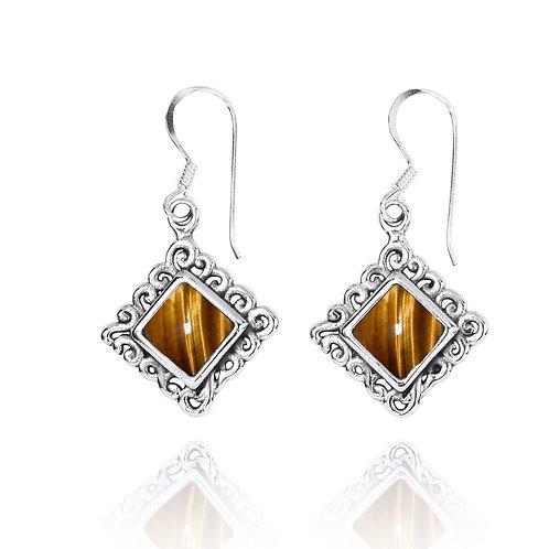 NEA3758-BRTE - Elegant Ethnic Style Earrings with Tiger Eye