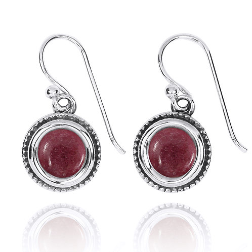 NEA2710-RDN - Round Classic Gemstone Earrings with Rhodonite