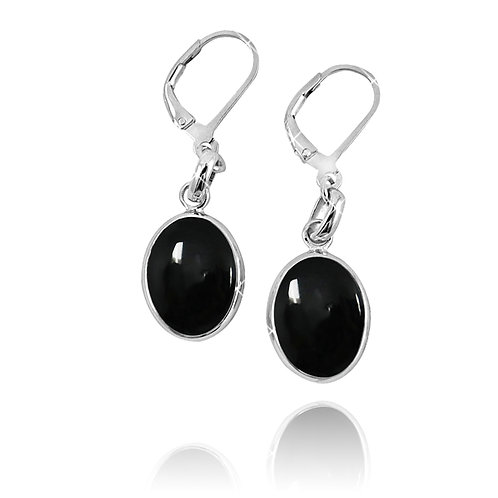 NEA3054-BKON - Elliptic Shape Elegant Black Onyx Earrings