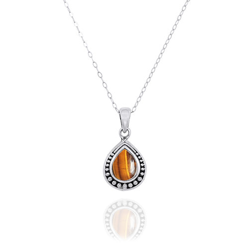 NP12366-BRTE -  Drop Shape  Silver Pendant with a  Tiger Eye Piece