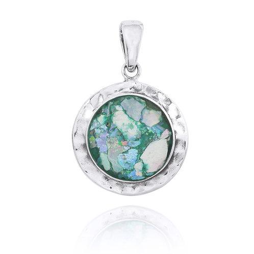 NP12246-RG - Sterling Silver Roman Glass Pendant - Gemstone Jewelry