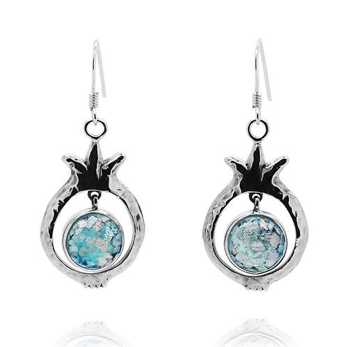 NEA3641-RG - Dangling Roman Glass Earrings - PomegranateDesign