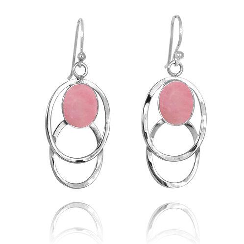 [NEA1852-PPKOP] Double Silver Oval Hoop Drop Earrings withPeru Pink Opal