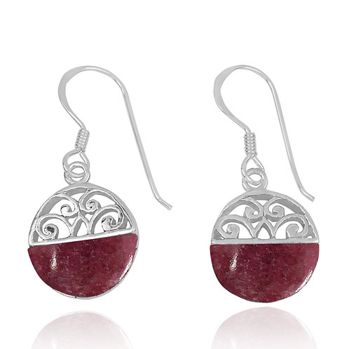 NEA2188-RDN -  Half Dome Shape Rhodonite Ethnic Style Earrings