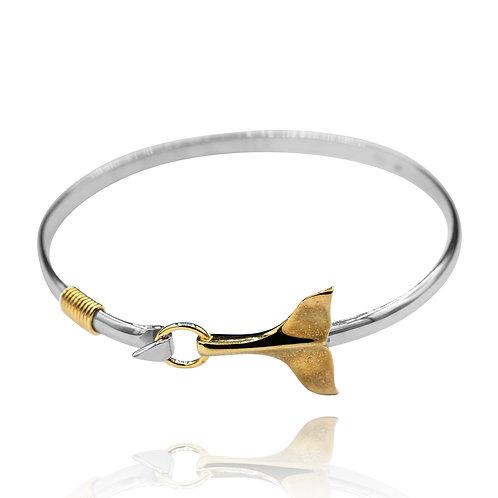NB0789 - 18K Gold Plated Sea Life Bangle - Whale TailDesign