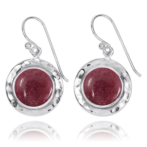 NEA3726-RDN - Round Classic Earrings with Rhodonite Stones