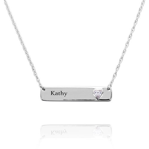 KNM6 - A CLASSIC SILVER BAR WITH A HEART SHAPE BIRTHSTONE AND NAME ENGRAVING