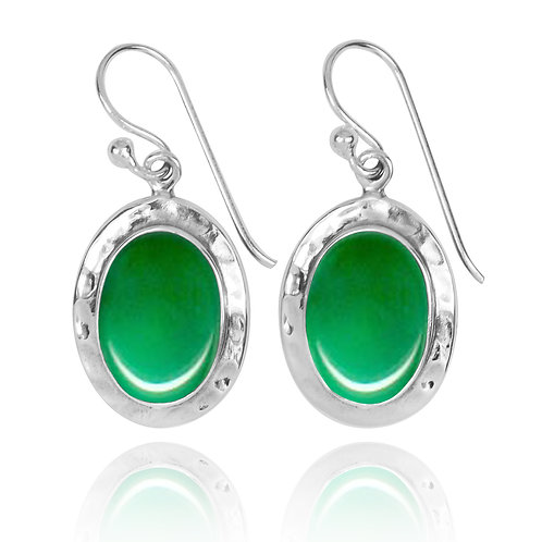 NEA3724-CRP - Oval Classic Earrings with Chrysoprase