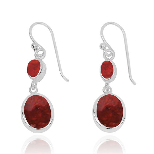 NEA3718-SPC - Elegant Dangling 2 Part Earrings with Sponge Coral