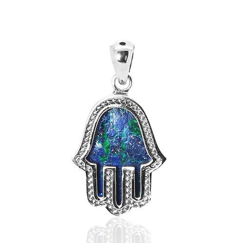 NP12289-AZM -Sterling Silver Azurite Malachite Pendant - Gemstone Jewelry