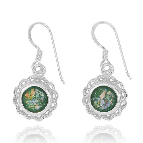 NEA3749-RG - Elegant Floral Design Roman Glass Earrings