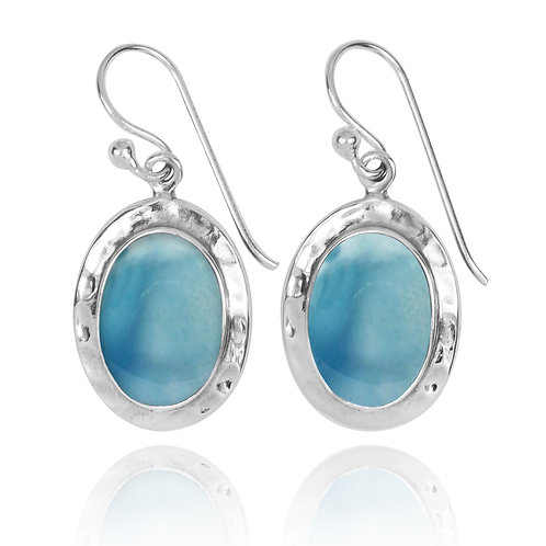 NEA3724-LAR -Oval Classic Earrings with Larimar Stones