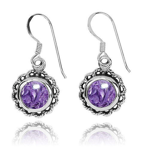 NEA3749-CHR - Flowery Earrings with Charoite Stones