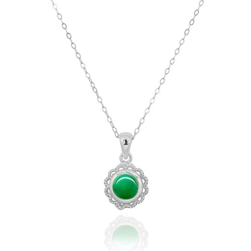 NP12340-CRP - Classic Round Flowery  Silver Pendant with a Chrysoprase  Piece