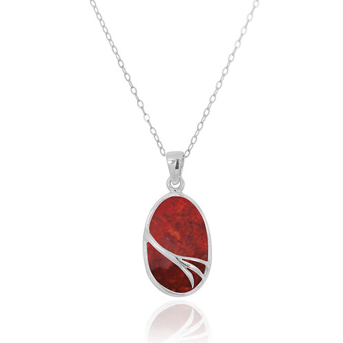 NP7090-SPC - Oval Silver Pendant with Sponge Coral