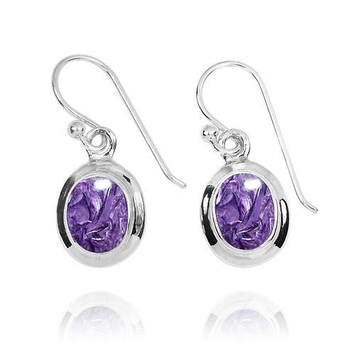 NEA3272-CHR- Elegant Oval Charoite Earrings