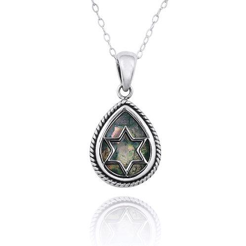 NP12222-RG - Roman Glass Drop shape with Star Of David